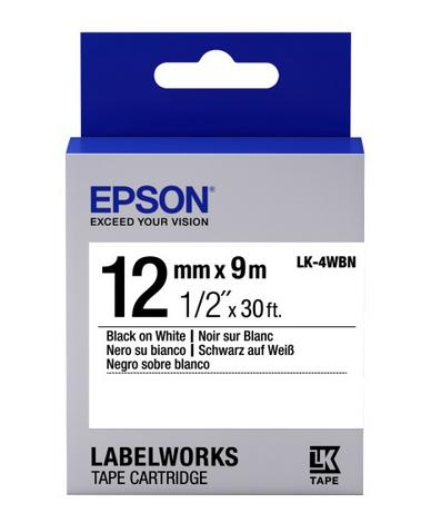 CINTA EPSON LK-4WBN NEGRO SOBRE BLANCO 12MM X 9MM COD:40234
